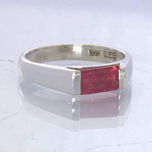 Red Ruby Two Stone Stacking Ring-Mozambique Ruby Birthstone Ring-Ruby Vintage Ring-925 Solid Sterling Silver-Jewelry Handmade Ring-US 5-10