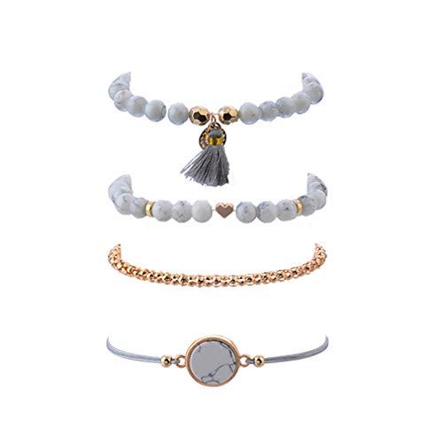 ehemian Turquoise Beads Disc Heart Tassel Beach Bracelet ()