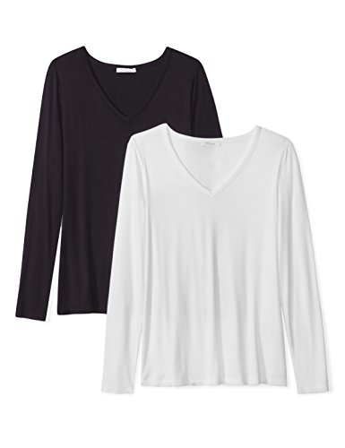Daily Ritual Women's Jersey Long-Sleeve V-Neck T-Shirt, 2-Pack, XXL, Black/White