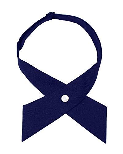 Levao Solid Color Criss-Cross Tie, Girls' School Uniform Cross Adjustable Bowtie PB306-H Navy Blue