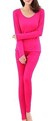 Nanquan Women Crewneck Thin Stretch Thermal Underwear Underwear Set Top and Bottom