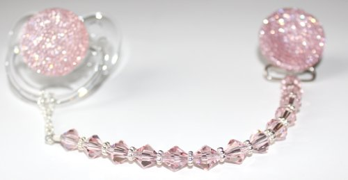 98990a72468e Amazon.com   Luxury Pink Crystal and Beads from Swarovski and Pink Glitter  Baby Girl Sparkly Gift Pacifier Clip (CSGP)   Baby Pacifier Leashes   Baby