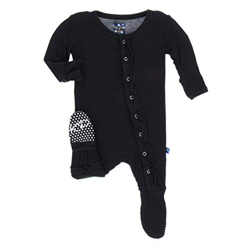 - KicKee Pants Girls Basic Muffin Ruffle Footie- Midnight, 9-12 Months