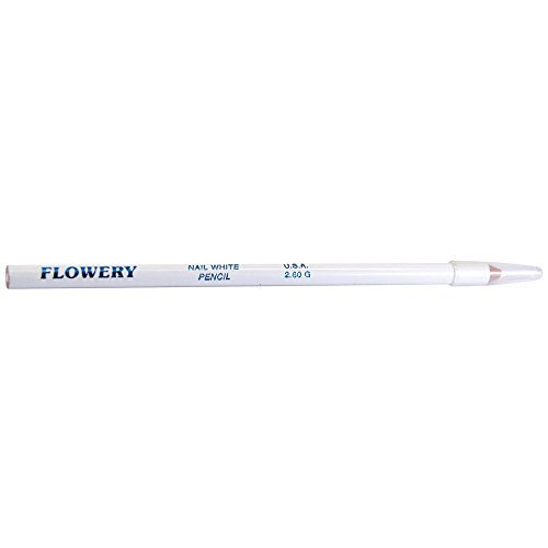 (Flowery Nail White Pencil with Cuticle Pusher Cap - 7