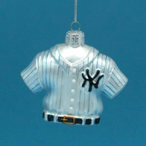 Kurt Adler Major League Baseball New York Yankees Glass Jersey Ornament, 3.25-Inch Ny Yankees Ornaments