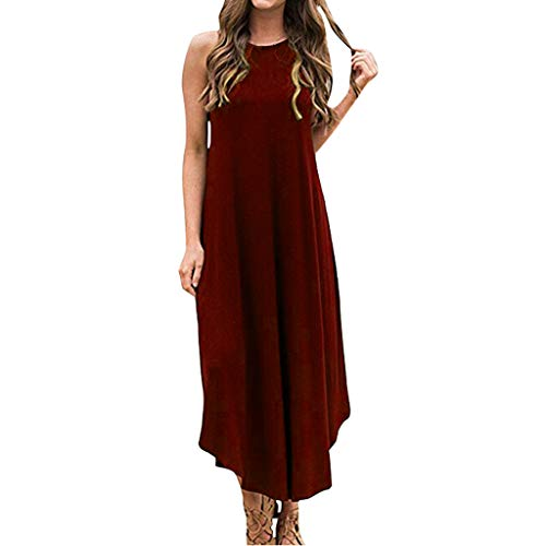 FRENDLY Women's Loose Long Dress Summer Casual Skirt Solid Sleeveless Loose Beach Maxi Dress Red