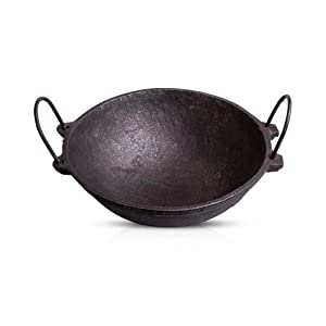The Indus Valley Pre Seasoned Cast Iron Cookware – 2.5L Kadai/Large Size / 10 Inches Diameter/Pre-Seasoned ]