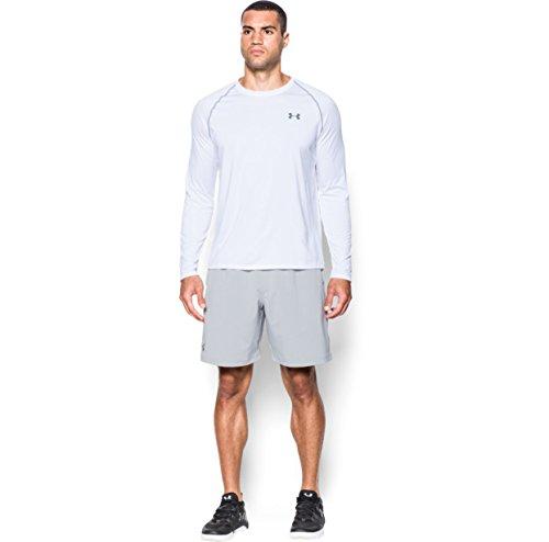 Under Armour Men's Tech L/S T-Shirt White / Steel XL & HDO Workout Visor Bundle