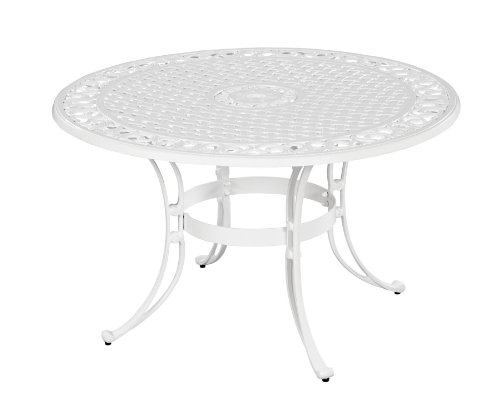 Home Styles 5552-32 Biscayne Round Outdoor Dining Table, White Finish, 48-Inch