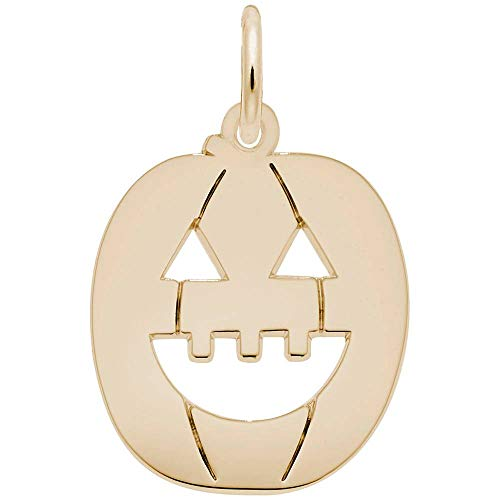 Rembrandt Charms, Halloween Jack O' Lantern, 14k Yellow Gold, Engravable ()