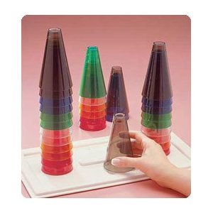 Wooden Stacking Cones (Rolyan Stacking Cones - 30 cones (five of each color) with wooden base)