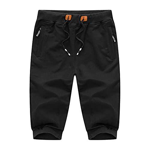 LEPOAR Men's Capri Joggers Shorts Cotton Casual Pants Below Knee Short Workout Running Sweatpants with Three Pockets
