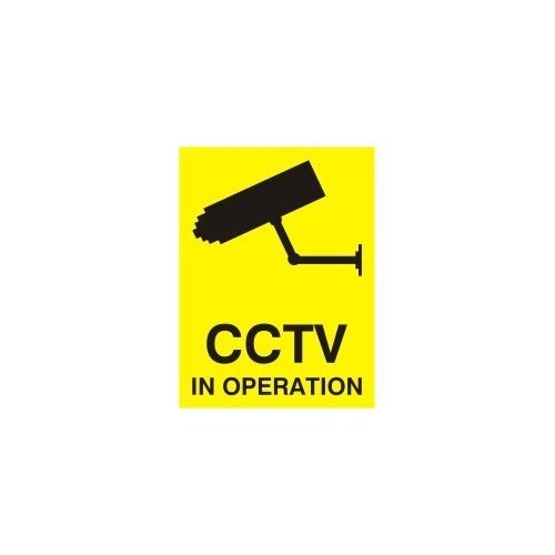 CCTV IN OPERATION SIGN - X5 WINDOW STICKERS 100x75mm Reverse print PROFILESIGNS.CO