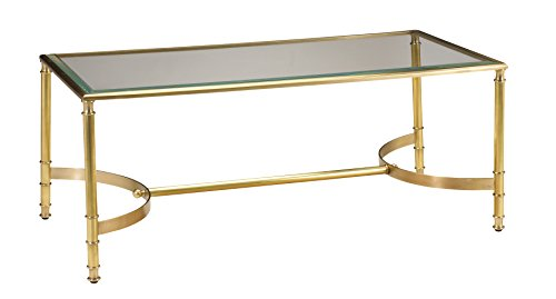 - French Heritage Deveroux Rectangular Coffee Table, Satin Antique Brass