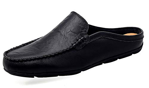 Shop Tour - Go Tour Mens Mules Clog Slippers Breathable Leather Slip on Shoes Casual Loafers Black 7.5/40