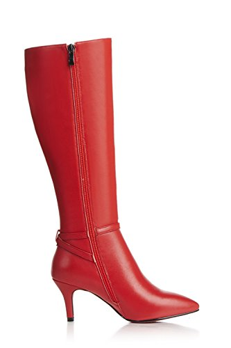 Nine Seven Genuine Leather Women's Pointed Toe Stiletto Heel Buckle Zip Knee High Handmade Boot (8, red) by Nine Seven (Image #2)'