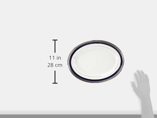 14-inches 4170-413 Noritake Crestwood Cobalt Platinum Oval Platter