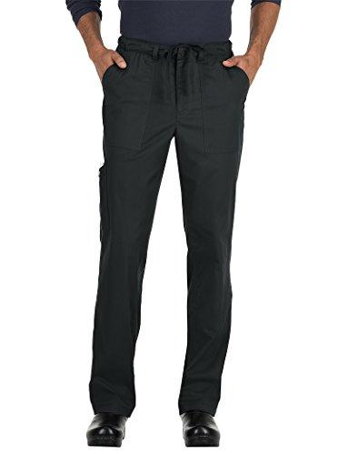 KOI Stretch Men's Ryan Stretch Zip Fly Drawstring Scrub Pant Medium Tall Black (Scrub Koi Tall Mens)