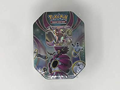 Pokemon Hoopa EX Tin with Hoopa EX Pokemon Card, 4 Factory Sealed Pokemon Booster Packs, Pikachu Keychain and Ultra Pro Deck Box Bundle