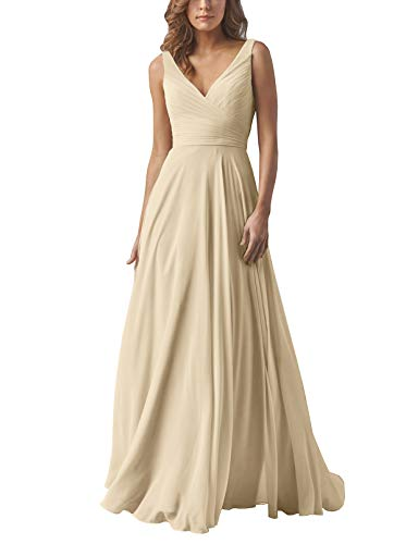 Yilis Double V Neck Elegant Long Bridesmaid Dress Chiffon Wedding Evening Dress Champagne US14