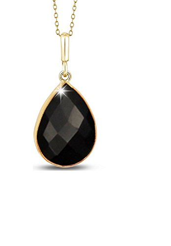 Voss+Agin Ladies Genuine Black Onyx Tear Drop Pendant (5.00 CTW) in 14K Gold Plated Sterling Silver, 18'' Chain W/Spring ()