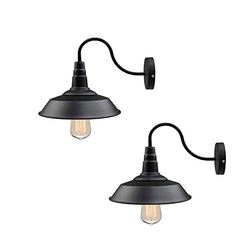 - LNC A0224109 2-Pack Black Lamps Gooseneck Barn Warehouse Industrial Lighting Wall Sconces