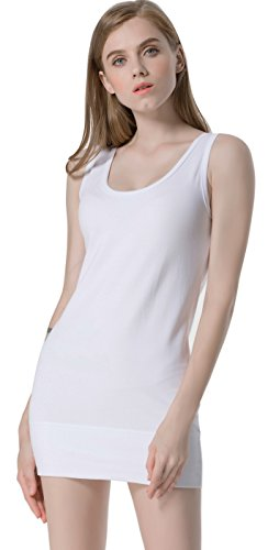- Moxeay Womens Extra Long Stretch Cotton Tank Top (Medium, White)