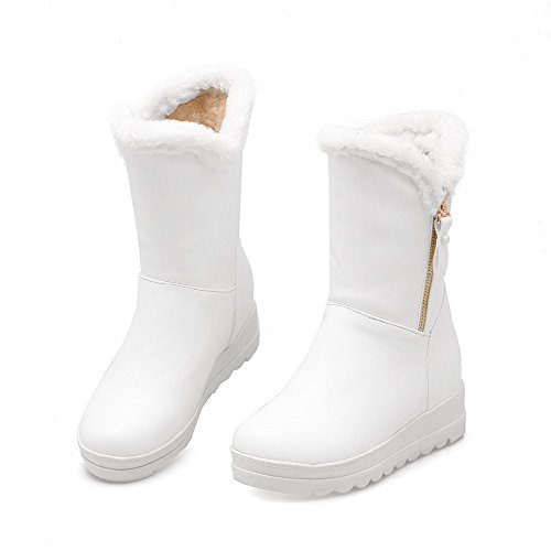 VogueZone009 Damen Rund Zehe Mittler Absatz PU Reißverschluss Ziehen auf Stiefel, Weiß, 37
