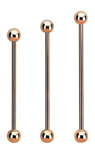 Rose Gold PVD Plated Surgical Steel 14GA Industrial Barbell with 5mm Balls - Sold by Piece (35mm (1 (Owl Industrial Barbell)
