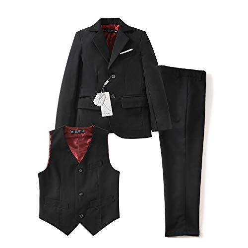 Yuanlu Toddler Dresswear Boys' Suits Set with Coat Vest and Pants for Weddings Black Size 10