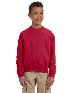 Jerzees Youth 50/50 Crewneck Sweatshirt, TRUE RED, Large 50 Youth Crewneck Sweatshirt