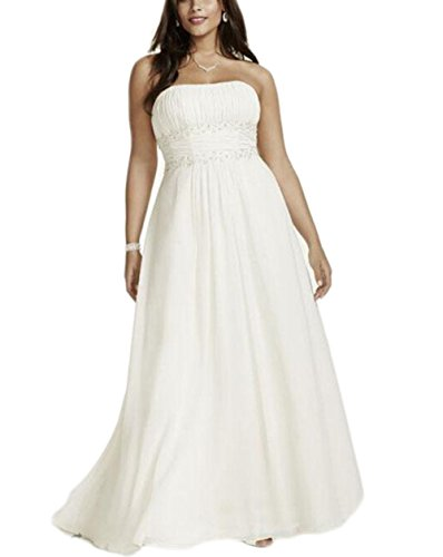 Veilace Women's Plus Size Chiffon Empire Waist Gowns with Appliques Wedding Dress Beaded Sash Bridal Dress White