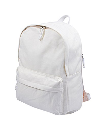 ABage Canvas School Backpack Classic Student Bookbag Lightweight Casual Daypack for Travel/Boys/Girls, White ()