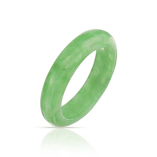 - Bling Jewelry Dyed Green Jade Band Gemstone Modern Stackable Ring 5mm
