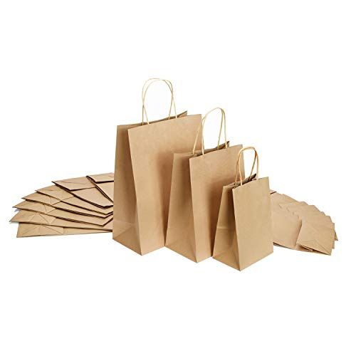 GSSUSA 5x3x8&8x4.75x10&10x5x13-50Pcs Each Size - Halulu Brown Kraft Paper Bags, Shopping, Mechandise, Party, Gift Bags - Total 150Pcs -