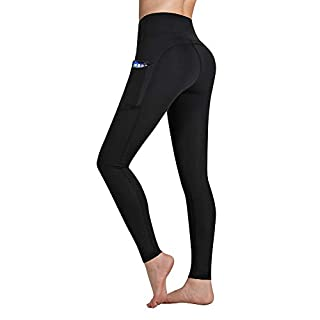 Occffy High Waist Yoga Pants for Women with Pockets Tummy Control Leggings Workout Running Tights DS166 (Black, Medium)