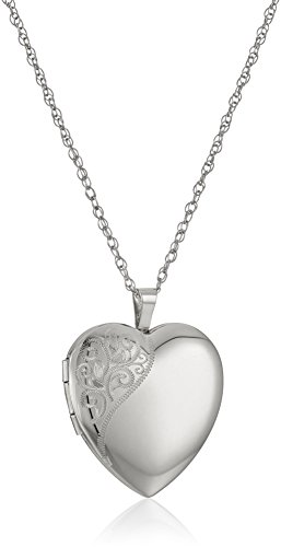 Sterling Silver Floral Pendant - Sterling Silver Large Hand Engraved Floral Heart Pendant with Satin and Polished Finish Locket Necklace, 20