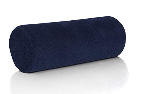 AllSett Health Bamboo Navy Round Cervical Roll Cylinder Bolster Pillow with Removable Washable Cover, Ergonomically Designed for Head, Neck, Back, and Legs || Ideal for Spine and Neck Support from AllSett Health