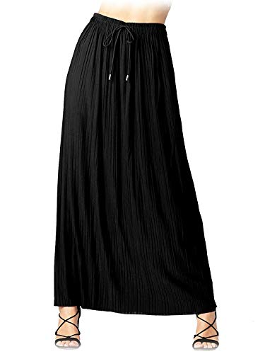 Design by Olivia Women's Elastic Waist Chiffon Loose Pleated Wide Overlay Skirt Black ONE
