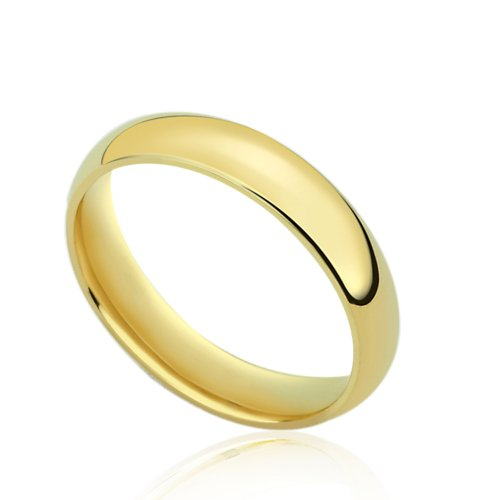 14K Yellow Gold 4mm Comfort Fit Classic Domed Plain Wedding Band (Size 4 to 14), 7