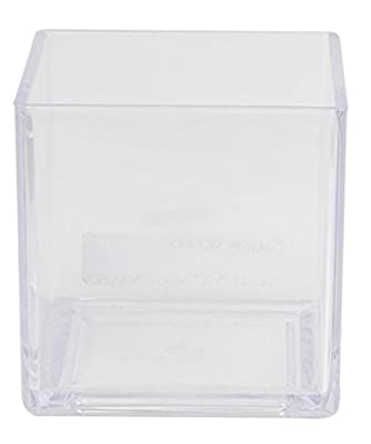 Flower Acrylic Vase Decorative Centerpiece For Home or Wedding by Royal Imports - Break Resistant - Cube Shape