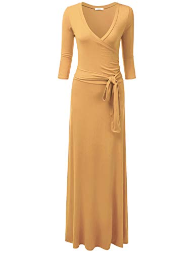 (NINEXIS Women's V-Neck 3/4 Sleeve Crossover Maxi Dress with Waist Wrap, Taupe XL Plus Size)