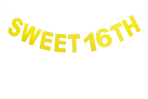 (Brcohco Sweet 16TH Banner - Gold Happy 16th Birthday Party Supplies, 16th Wedding Anniversary Hang)