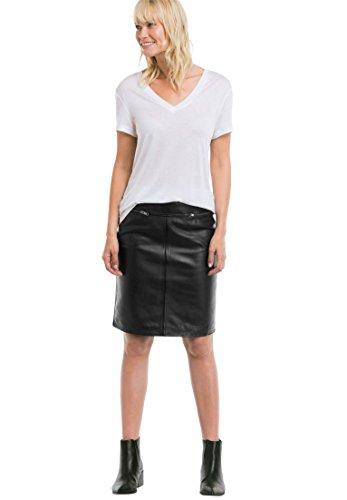 Ellos Women's Plus Size Zip Pocket Leather Skirt Black,26 by Ellos
