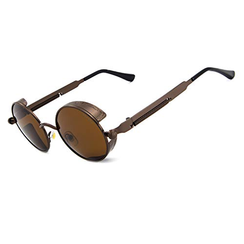 Ronsou Steampunk Style Round Vintage Polarized Sunglasses Retro Eyewear UV400 Protection Matel Frame brown frame/brown lens