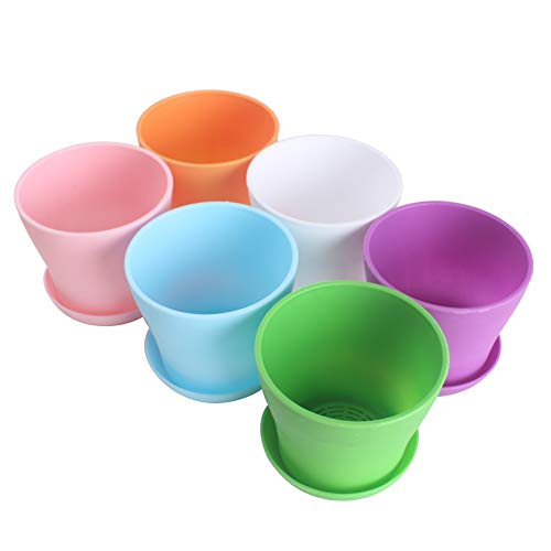 (WARMBUY 6 Pack Colorful Round Plastic Plant Pots with Saucers)