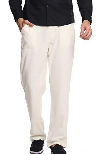Casual Bolawoo Beige À Solide Marque Élastique Poches Avec En Couleur Pantalon Vrac Lin Homme Dentelle Taille Pour Mode RR1rag
