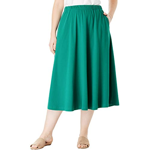 Woman Within Women's Plus Size 7-Day Knit A-Line Skirt - Foliage Green, 2X