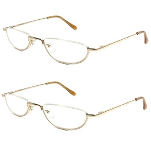 (The Lynwood Unisex Half Moon Half Frame Reading Glasses, Round Readers for Men and Women +3.25 (2 Pair) Gold (2 Carrying Cases Included))