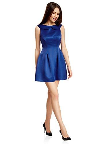 oodji Ultra Mujer Vestido de Tejido de Raso Azul (7500N)